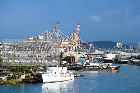 Cruise ship and cranes at a harbor, Honolulu Harbor, Honolulu Oahu, Hawaii Islands, USA