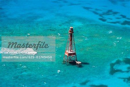 High angle view of a lighthouse in the sea, Florida Keys, Florida USA
