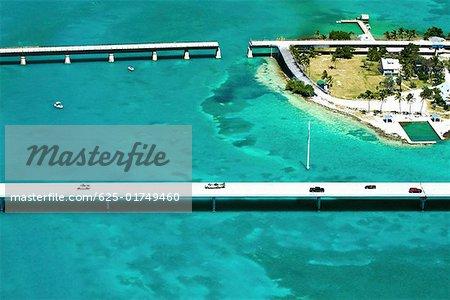 Aerial view of bridges over the sea, Florida Keys, Florida, USA
