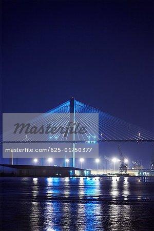 Suspension bridge lit up at night Talmadge Bridge, Savannah River, Savannah, Georgia, USA