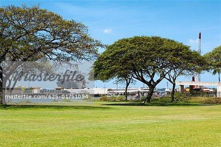 Warship at a harbor, Pearl Harbor Honolulu, Oahu, Hawaii Islands, USA