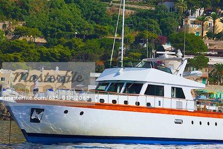 Cruise ship docked at a port, Marina Grande, Capri, Campania, Italy