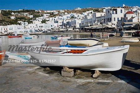 Boat at the dock, Mykonos, Cyclades islands, Greece