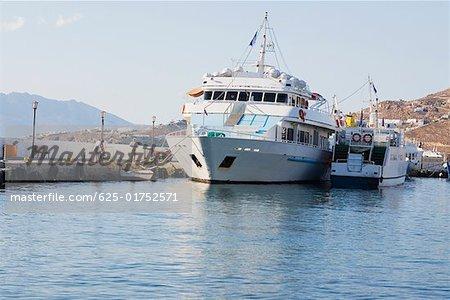 Cruise ship docked at a harbor, Mykonos, Cyclades Islands, Greece
