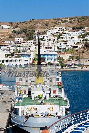 Ship moored at a harbor, Skala, Patmos, Dodecanese Islands, Greece
