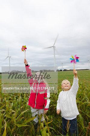Children with Pinwheels