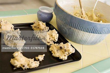 Cookie-Teig auf Backblech