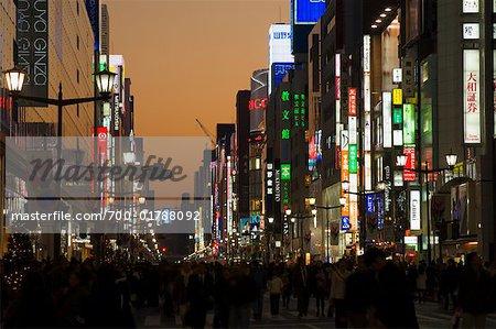 Quartier de Ginza, au crépuscule, Tokyo, Japon