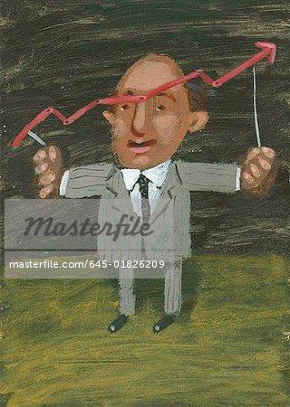 Man holding stock chart indicator