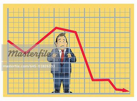 Businessman behind stock chart bars