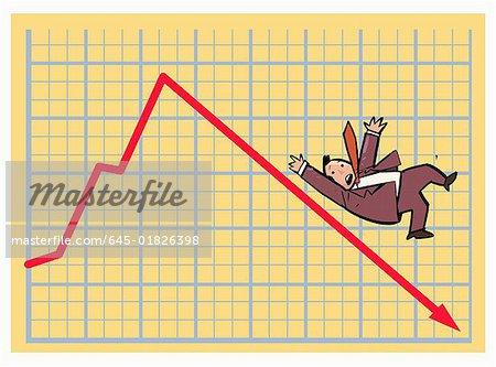 Businessman sliding down a stock chart arrow
