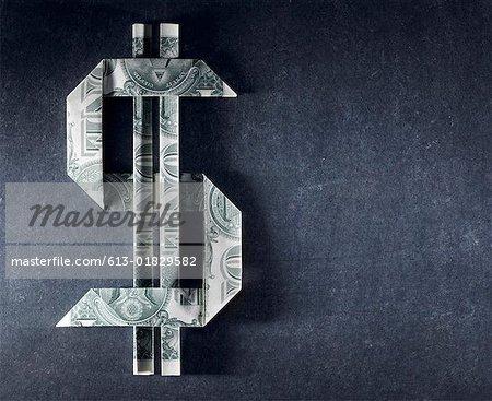 Hergestellt aus einem Dollar-Scheine Dollarzeichen
