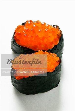 Gunkan maki avec deux sortes de caviar