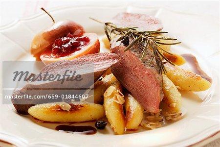 Venison fillet with potato noodles, rosemary & cranberry apple