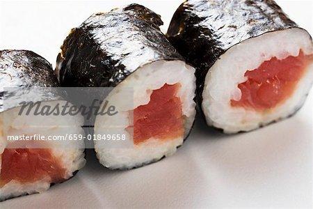 Three maki sushi with tuna