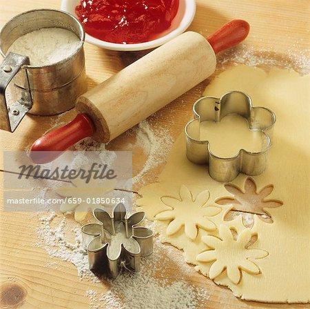Bäckerei Szene mit Gebäck, Kekse Fräser, Nudelholz