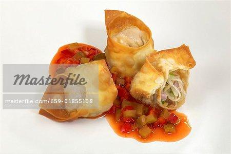 Wontons (deep-fried dumplings) with sauerkraut filling