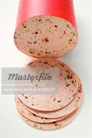 Paprikawurst (saucisse de poivre), une pièce et tranches