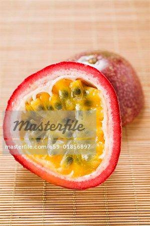 Purple granadilla (passion fruit) halved
