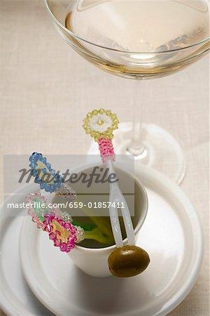Fourchette cocktail Martini et vert olive