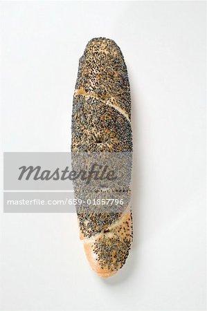 Pretzel stick with poppy seeds