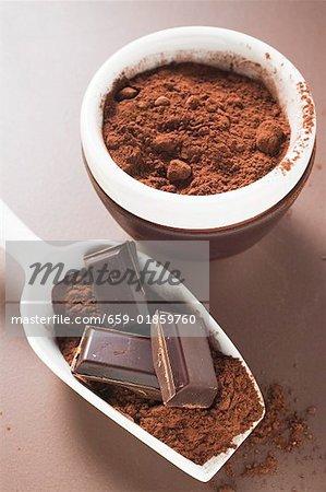 Morceaux de chocolat et de cacao en poudre dans scoop et bol