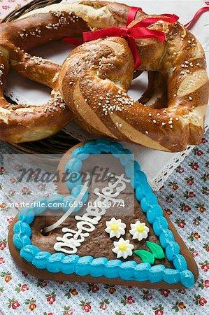 Lebkuchen heart, pretzel and lye roll for Oktoberfest