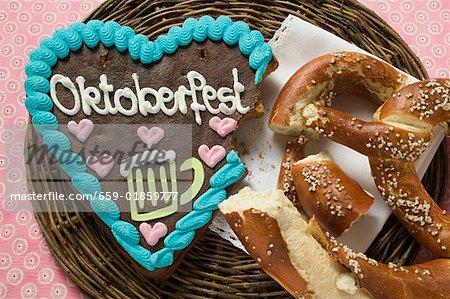 Lebkuchen heart (a bite taken) & pretzel for Oktoberfest