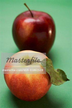Deux pommes différentes (variétés Elstar et Stark)