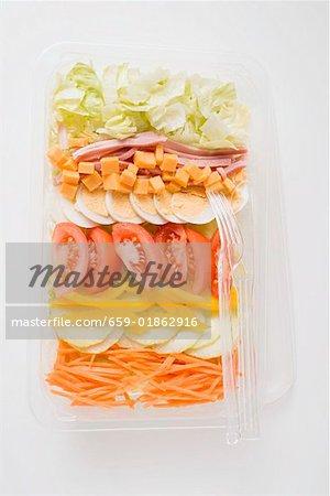 Laitue iceberg, jambon, fromage, oeuf & légumes dans le plateau en plastique