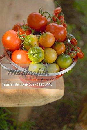 Verschiedene Arten von Tomaten in Sieb auf Tisch im freien