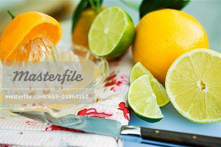 Assortis aux agrumes avec presse-agrumes citrus