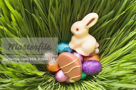 Bonbons de Pâques dans l'herbe