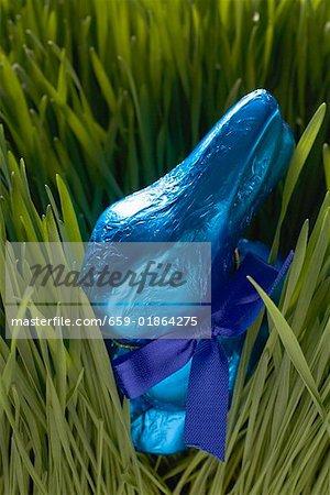 Lapin de Pâques au chocolat bleu en herbe