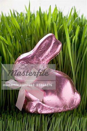 Lapin de Pâques au chocolat rose en herbe