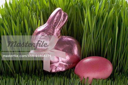 Rose lapin de Pâques et oeuf de Pâques en herbe