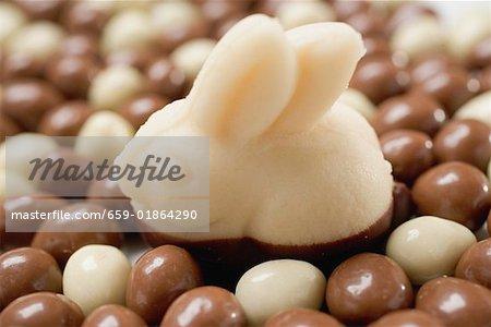 Lapin de Pâques de massepain sur les œufs en chocolat