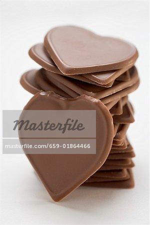Schokoladen Herzen, in einem Haufen