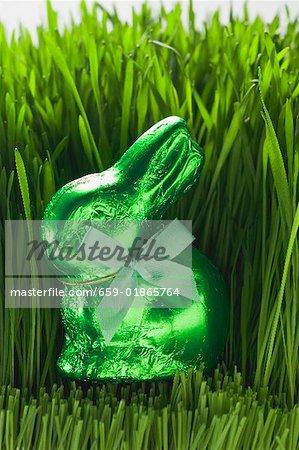 Lapin de Pâques vert en herbe