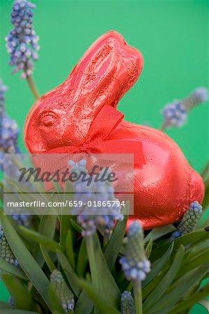 Lapin de Pâques rouge parmi les fleurs de printemps