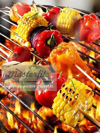 Vegetable kebabs on barbecue
