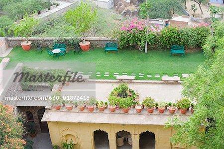 Vue d'angle élevé de plantes en pot sur le toit du palais, Neemrana Fort Palace Neemrana, Alwar, Rajasthan, Inde