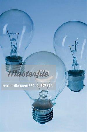 Close-up of three light bulbs