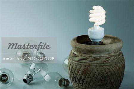 Gros plan d'une énergie efficace ampoule dans un pot