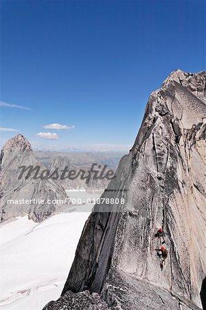 Climbers on Rock Face, Bugaboo Mountains, British Columbia, Canada