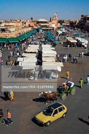 Place Jemaa El Fna, la médina de Marrakech, Maroc