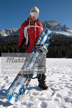 Woman Snowboarding, Sorapiss Mountain, Misurina, Auronzo di Cadore, Belluno, Veneto, Italy