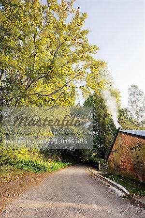 Route de campagne par bâtiment, Broadhembury, Devon, Angleterre