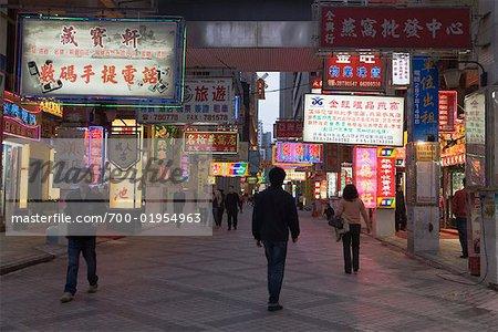 Downtown Macau at Night, China