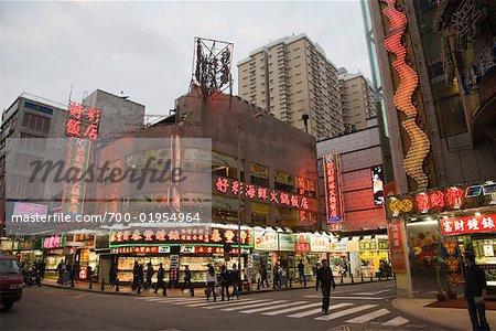 Macau Centre ville pendant la nuit, Chine